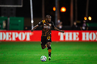 LAKE BUENA VISTA, FL - JULY 23: Boniek Garcia #27 of the Houston Dynamo dribbles the ball during a game between Los Angeles Galaxy and Houston Dynamo at ESPN Wide World of Sports on July 23, 2020 in Lake Buena Vista, Florida.