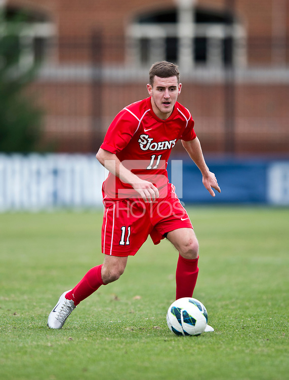 Jack Bennett (11) of St. John's  brings the ball upfield during the game at North Kehoe Field in Washington DC. Georgetown defeated St. John's, 2-1, in the Big East conference tournament quarterfinals.
