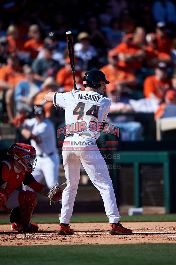 Alex McGarry (44) at bat during an NCAA game against the New Mexico Lobos at Surprise Stadium on February 14, 2020 in Surprise, Arizona. (Zachary Lucy / Four Seam Images)