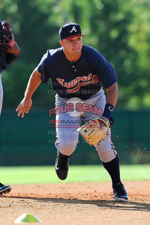 Infielder Dylan Manuring (39) of the Atlanta Braves farm system in a Minor League Spring Training workout on Monday, March 16, 2015, at the ESPN Wide World of Sports Complex in Lake Buena Vista, Florida. (Tom Priddy/Four Seam Images)
