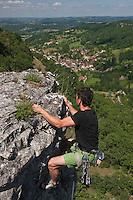 Europe/Europe/France/Midi-Pyrénées/46/Lot/Autoire: Escalade dans les falaises du Cirque d'Autoire