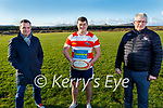 Damien Brown, Daragh and Pat Fitzgerald (Chairman) standing in Rugbaí Chorca Dhuibhne's playing field on Tuesday.