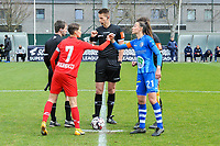 assistant referee Robby Keuleers , Maurane Marinucci (7) of Standard , referee Simon Bourdeaud Hui , assistant referee Gianni Seeldraeyers , Silke Vanwynsberghe (21) of AA Gent pictured before a female soccer game between  AA Gent Ladies and Standard Femina de Liege on the first matchday of play-off 1 of the  2020 - 2021 season of Belgian Scooore Womens Super League , saturday 3 th of April 2021  in Oostakker , Belgium . PHOTO SPORTPIX.BE | SPP | STIJN AUDOOREN