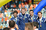 The Hague, Netherlands, June 15: Players of Argentina pose with their bronze medals during the prize giving ceremony on June 15, 2014 during the World Cup 2014 at Kyocera Stadium in The Hague, Netherlands. (Photo by Dirk Markgraf / www.265-images.com) *** Local caption ***