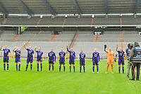 line-up Anderlecht ( Tine De Caigny (6) of Anderlecht , Sarah Wijnants (11) of Anderlecht , Britt Vanhamel (4) of Anderlecht , Tessa Wullaert (27) of Anderlecht , Mariam Abdulai Toloba (19) of Anderlecht , Laura Deloose (14) of Anderlecht , Elke Van Gorp (7) of Anderlecht , Stefania Vatafu (10) of Anderlecht , Charlotte Tison (20) of Anderlecht , goalkeeper Justien Odeurs (13) of Anderlecht , Laura De Neve (8) of Anderlecht ) pictured after a female soccer game before RSC Anderlecht Dames and Oud Heverlee Leuven on the seventh matchday of play off 1 of the 2020 - 2021 season of Belgian Womens Super League , saturday 15 th of May 2021  in Brussels , Belgium . PHOTO SPORTPIX.BE | SPP | STIJN AUDOOREN