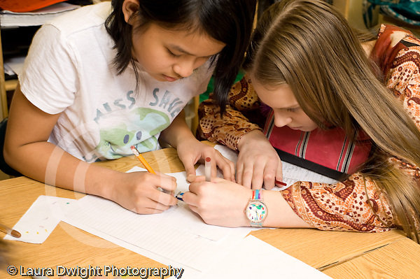 Public Middle School Grade 7 two female students working together drawing for project cover horizontal