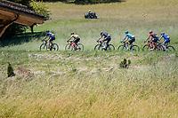 Roman Kreuziger (CZE/ORICA-Scott), Richie Porte (AUS/BMC), Chris Froome (GBR/SKY), Jakob Fuglsang (DEN/Astana), Alberto Contador (ESP/Trek-Segafredo) & Daniel Martin (IRE/QuickStep Floors) make for an elite peloton<br /> <br /> 69th Critérium du Dauphiné 2017<br /> Stage 8: Albertville > Plateau de Solaison (115km)