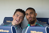 Aston Villa Lewis Grabban and Aston Villa Jack Grealish before the Sky Bet Championship match between Millwall and Aston Villa at The Den, London, England on 6 May 2018. Photo by Andrew Aleksiejczuk / PRiME Media Images.