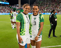AUSTIN, TX - JUNE 16: Roosa Ariyo #7 and Onyinyechi Salome Zogg #3 of Nigeria pose for a photo during a game between Nigeria and USWNT at Q2 Stadium on June 16, 2021 in Austin, Texas.