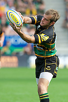 Stephen Myler of Northampton Saints catches the ball during the Aviva Premiership match between Northampton Saints and Exeter Chiefs at Franklin's Gardens on Sunday 9th September 2012 (Photo by Rob Munro)
