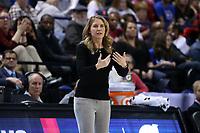 GREENSBORO, NC - MARCH 07: Head coach Joanna Bernabei-McNamee of Boston College during a game between Boston College and NC State at Greensboro Coliseum on March 07, 2020 in Greensboro, North Carolina.