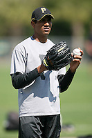 """February 26, 2009:  India pitcher Rinku Singh of the Pittsburgh Pirates organization working out during Spring Training at Pirate City in Bradenton, FL.  Singh won the reality TV show """"The Million Dollar Arm"""" and was signed by the Pirates in 2008.  Photo by:  Mike Janes/Four Seam Images"""