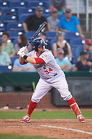 Reading Fightin Phils designated hitter Jake Fox (34) during a game against the Portland Sea Dogs on May 31, 2016 at Hadlock Field in Portland, Maine.  Reading defeated Portland 6-4.  (Mike Janes/Four Seam Images)
