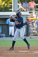 Ronald Acuna (11) of the Danville Braves at bat against the Burlington Royals at Burlington Athletic Park on August 13, 2015 in Burlington, North Carolina.  The Braves defeated the Royals 6-3. (Brian Westerholt/Four Seam Images)
