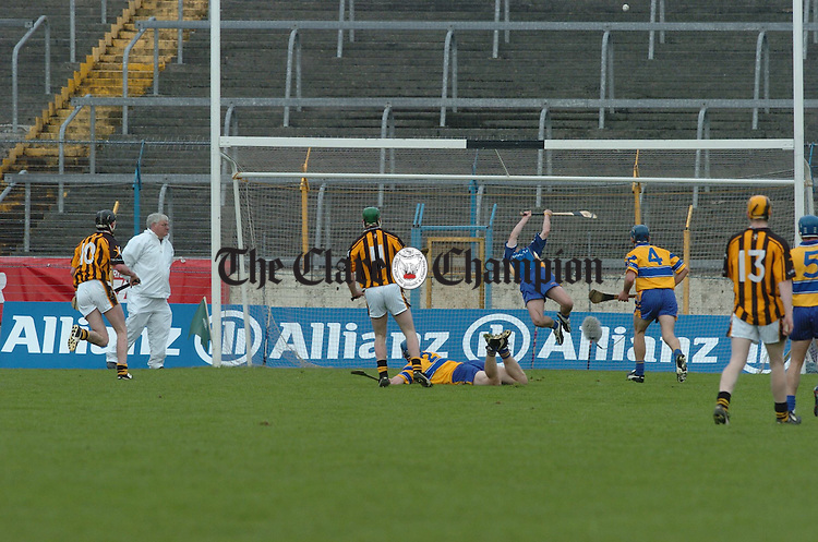 Clare's David Fitzgerald stretches to make a spectacular save in Thurles.  Photograph by John Kelly.