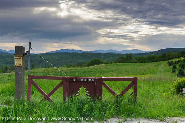 Scenic view from the Rocks Estate in Bethlehem, New Hampshire on a cloudy spring day.