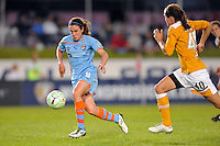 Heather O'Reilly (9) of Sky Blue FC gets behind Keeley Dowling (40) of the Atlanta Beat. Sky Blue FC defeated the Atlanta Beat 3-0 during a Women's Professional Soccer (WPS) match at Yurcak Field in Piscataway, NJ, on May 21, 2011.