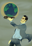 Businessman holding a globe on a platter