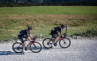 stage leaders Michal Kwiatkowski (POL/Ineos Grenadiers) & Richard Carapaz (ECU/Ineos Grenadiers) at the gravel section atop the Montée du plateau des Glières (HC/1390m)<br /> <br /> Stage 18 from Méribel to La Roche-sur-Foron (175km)<br /> <br /> 107th Tour de France 2020 (2.UWT)<br /> (the 'postponed edition' held in september)<br /> <br /> ©kramon