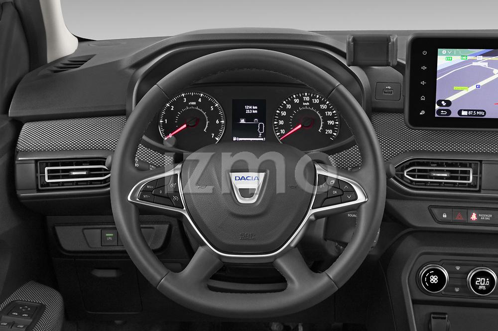 Steering wheel view of a 2021 Dacia Sandero Comfort 5 Door Hatchback