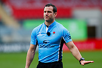 28th March 2021; Mattoli Woods Welford Road Stadium, Leicester, Midlands, England; Premiership Rugby, Leicester Tigers versus Newcastle Falcons; Referee Karl Dickson looks up at the big screen during a TMO review