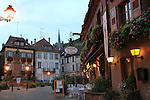Restaurant in Ribeauville, Alsace region, France.