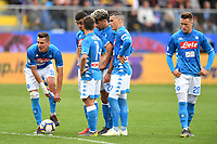 Arkadiusz Milik, Faouzi Ghoulam, Dries Mertens, Kevin Malcuit, Jose Callejon and Piotr Zielinski of Napoli look on before a free kick during the Serie A 2018/2019 football match between Frosinone and SSC Napoli at stadio Benito Stirpe, Frosinone, April 28, 2019 <br /> Photo Andrea Staccioli / Insidefoto
