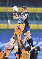 1st May 2021; Recreation Ground, Bath, Somerset, England; European Challenge Cup Rugby, Bath versus Montpellier; Sam Underhill of Bath competes for the ball at the lineout with Nicolaas Janse van Rensburg of Montpellier