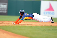Houston Astros outfielder George Springer #75 steals second during a Spring Training game against the St. Louis Cardinals at Osceola County Stadium on March 1, 2013 in Kissimmee, Florida.  The game ended in a tie at 8-8.  (Mike Janes/Four Seam Images)
