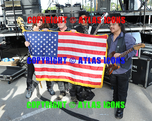 SUNRISE FL - JULY 04:  Michael Brahm, Pando, Mike Score and Joe Rodriguez of A Flock of Seagulls pose backstage during the City of Sunrise 4th of July Celebration held at  the BB&T Center on July 4, 2015 in Sunrise, Florida. (Photo by Larry Marano © 2015