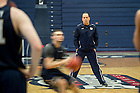 Mar. 18, 2015; Men's Basketball Head Coach Mike Brey leads practice at the Palumbo Center at Duquesne University before the second round of the 2015 NCAA Tournament. (Photo by Matt Cashore/University of Notre Dame)