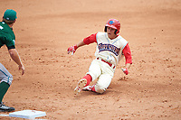 Clearwater Threshers Scott Kingery (31) slides into third base during a game against the Daytona Tortugas on April 20, 2016 at Bright House Field in Clearwater, Florida.  Clearwater defeated Daytona 4-2.  (Mike Janes/Four Seam Images)