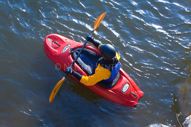 A kayak waits for his turn at Brennan's Wave on the Clark Fork River in Missoula, Montana