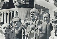 Daniel Johnson, late Quebec premier, with Charles de Gaulle on the balcony of Quebec city hall where e Gaulle began pronouncements in favor of separate status for Quebec. During the speech he pledged French aid and encouragement. . . . France lauds this secession with all her soul.<br /> <br /> 1967<br /> <br /> PHOTO :  Doug Griffin - Toronto Star Archives - AQP