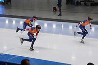 SPEEDSKATING: 24-11-2019 Tomaszów Mazowiecki (POL), ISU World Cup Arena Lodowa, Team Pursuit Men Division A (NED), Patrick Roest, Douwe de Vries, Marcel Bosker, ©photo Martin de Jong