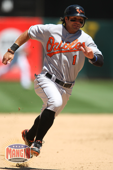 OAKLAND, CA - July 22:  Brian Roberts of the Baltimore Orioles runs the bases during the game against the Oakland Athletics at the McAfee Coliseum in Oakland, California on July 22, 2007.  The Orioles defeated the Athletics 2-0.  Photo by Brad Mangin