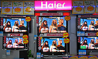 Haier TVs for sale in Guangzhou, China. The electronics giant Haier has expended from the while goods market to TV and mobile phones in recent years..27 May 2006