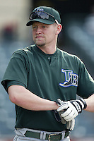 Aubrey Huff of the Tampa Bay Devil Rays before a 2002 MLB season game against the Los Angeles Angels at Angel Stadium, in Los Angeles, California. (Larry Goren/Four Seam Images)