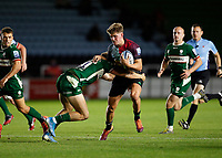 9th September 2020; Twickenham Stoop, London, England; Gallagher Premiership Rugby, London Irish versus Harlequins; Luke Northmore of Harlequins tackled by Ollie Hassell-Collins of London Irish