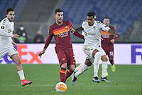 Galeno of SC Braga and Leonardo Pellegrini of AS Roma compete for the ball during the Europa League round of 32 2nd leg football match between AS Roma and Braga at stadio Olimpico in Rome (Italy), February, 25th, 2021. Photo Andrea Staccioli / Insidefoto
