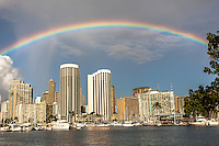 A rainbow over Waikiki at Ala Wai Harbor, Honolulu, O'ahu.