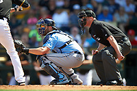 Umpire Ryan Blakney and Tampa Bay Rays catcher Curt Casali (19) during a Spring Training game against the Pittsburgh Pirates on March 10, 2017 at LECOM Park in Bradenton, Florida.  Pittsburgh defeated New York 4-1.  (Mike Janes/Four Seam Images)
