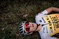 Lander Loockx (BEL/Hens-Maes Containers) collapsing post-finish.<br /> <br /> Koppenbergcross 2020 (BEL)<br /> men's race<br /> <br /> ©kramon