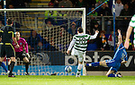 St Johnstone v Celtic..27.10.10  .Anthony Stokes scores Celtic's first goal.Picture by Graeme Hart..Copyright Perthshire Picture Agency.Tel: 01738 623350  Mobile: 07990 594431