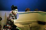 ELTON JOHN - performing live at Live Aid at Wembley Stadium, London, England - July 13, 1985 Elton John