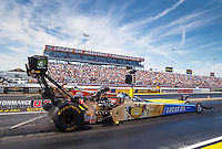 Sep 4, 2016; Clermont, IN, USA; NHRA top fuel driver Morgan Lucas during qualifying for the US Nationals at Lucas Oil Raceway. Mandatory Credit: Mark J. Rebilas-USA TODAY Sports