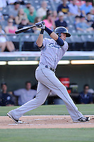 Shortstop Juan Diaz (46) of the Columbus Clippers bats in a game against the Charlotte Knights on Saturday, June 15, 2013, at Knights Stadium in Fort Mill, South Carolina. Columbus won, 4-2. (Tom Priddy/Four Seam Images)