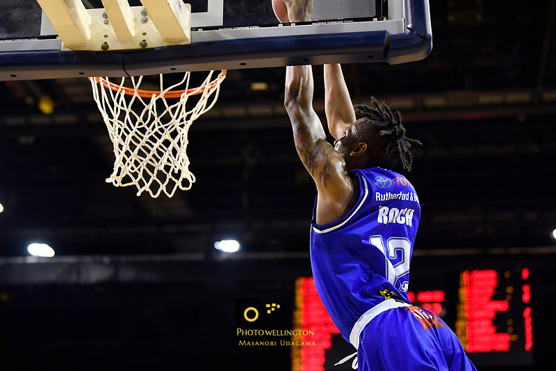 Kerwin Roach of the Wellington Saints dunks the ball during the NBL match between the Wellington Saints and the Auckland Huskies at TSB Bank Arena, Wellington, New Zealand on Friday 28 May 2021.<br /> Photo by Masanori Udagawa. <br /> www.photowellington.photoshelter.com