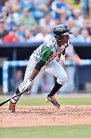 Augusta GreenJackets shortstop Lucius Fox (1) swings at a pitch during a game against the Asheville Tourists at McCormick Field on July 21, 2016 in Asheville, North Carolina. The GreenJackets defeated the Tourists 6-3. (Tony Farlow/Four Seam Images)