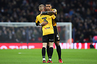 LONDON, ENGLAND - FEBRUARY 07:Joss Labadie of Newport County hugs Dan Butler prior to kick off of  the Fly Emirates FA Cup Fourth Round Replay match between Tottenham Hotspur and Newport County at Wembley Stadium, London, England, UK. 07 February 2018